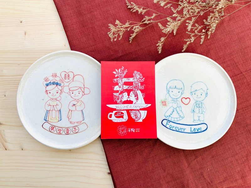 [customized wedding plate] Q version line portrait wedding plate Chinese / Western style