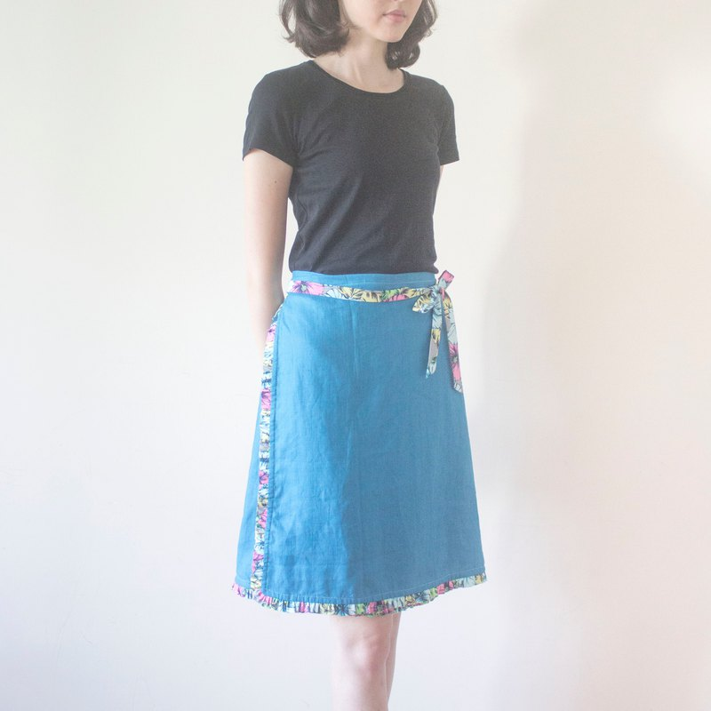 Handmade fahsion blue wrap skirt