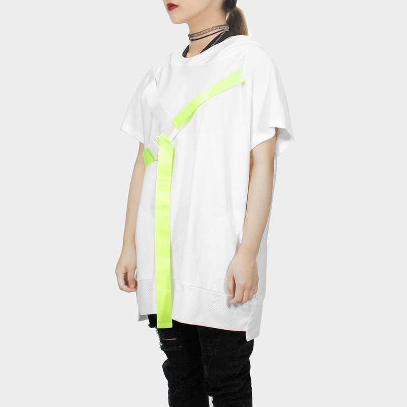 [ionism] oblique sleeve webbing short cap T white