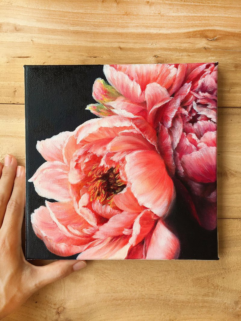 【Coral n Raspberry】Peony Original Oil Painting.Mother's Day Gift Wedding Floral.