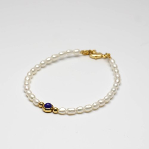 Light Jewelry Lapis Pearl Bracelet Super Slim
