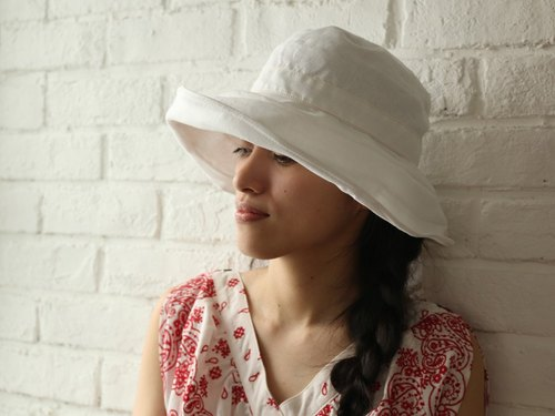 White Linen Wide brimmed Hat