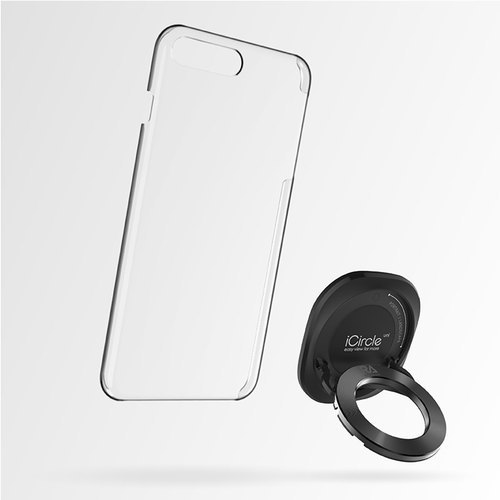 [Rolling Ave.]iCircle Uni iPhone 7 Multi-Purpose Stand Case - Black Black Ring