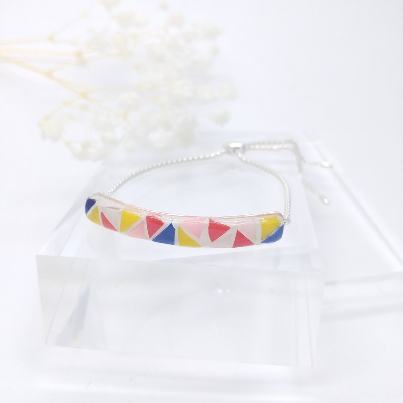 Mosaic Sterling Silver Bracelet, multi-color