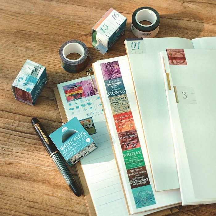 KEEP A NOTEBOOK- Washi Paper Masking Tape CKN-017 (W2.5cm x L10m) Week / Month