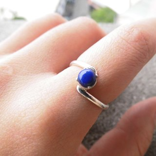 Lapis 925 silver handmade simple curve design ring