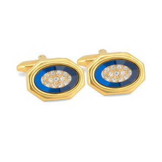 Gold Octagon Blue Bezel with Crystals Cufflinks