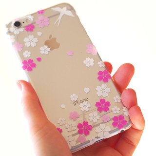 Clear iPhone case - Japanese Cherry Blossoms and Swallow -