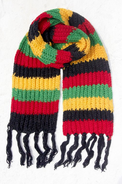 Christmas gift hand-woven pure wool scarf / knitted scarf / hand-woven striped scarf (made in nepal) - Tropical Forest National Wind