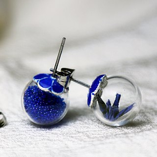 Glass ball earrings mini cranes (Bai Meiqing Luan) - Valentine's Day gift