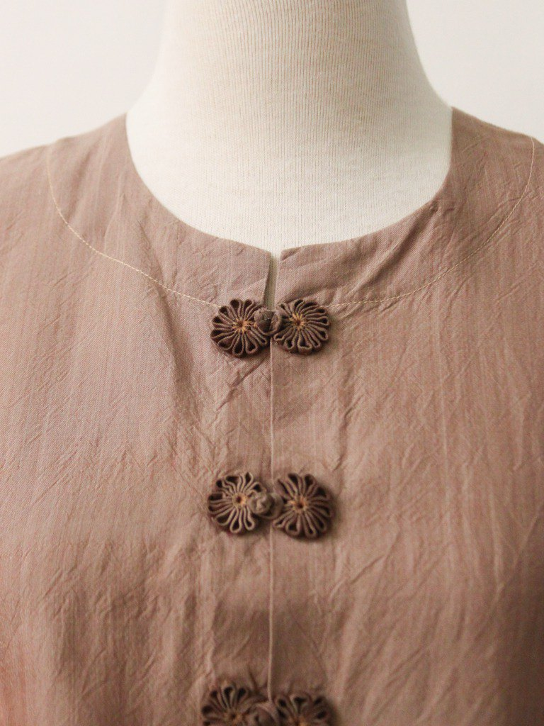 Retro European early autumn national style Chinese knot short-sleeved cocoa bronze vintage top