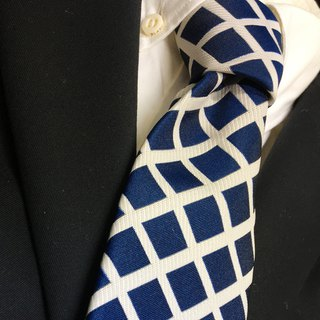 Plaid pattern blue tie checked necktie