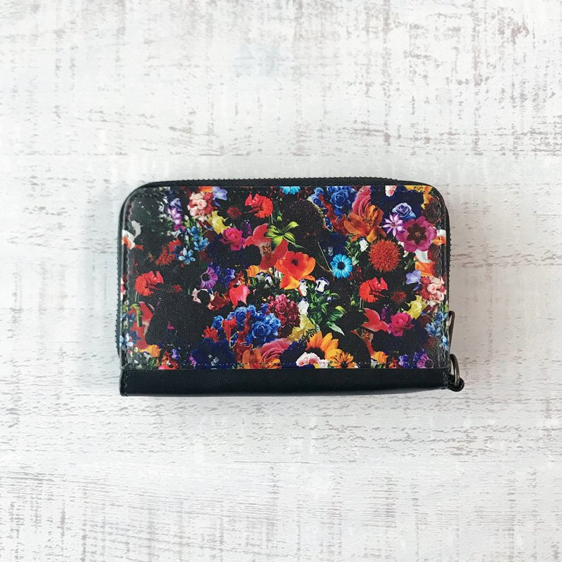 Mini Wallet FLOWER / coin case / card case / fabrick / collage / rose