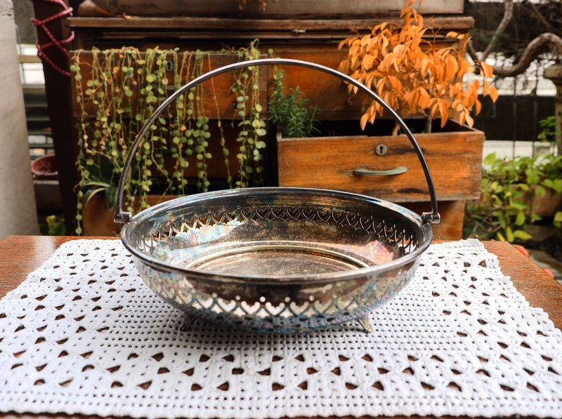 British antique silver round basket / basket