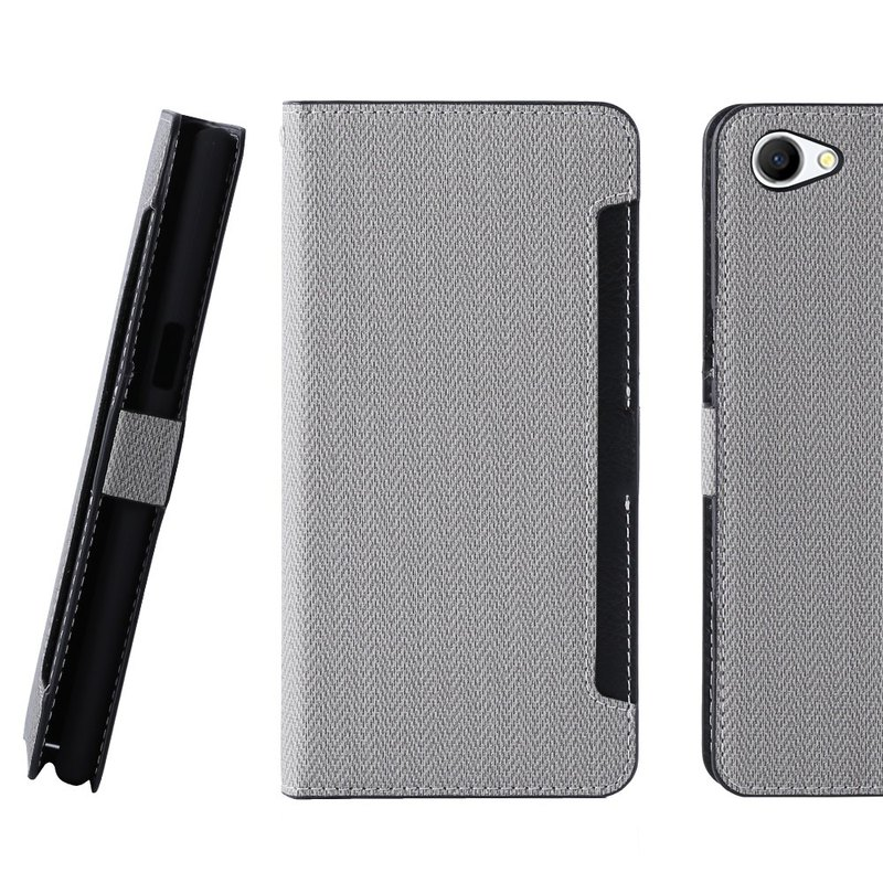 CASE SHOP OPPO A3 Dedicated front storage side squat standing leather case - gray (4716779660081)