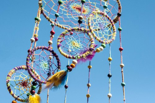 Hand-woven cotton and linen rainbow dream catcher Boho wool line feather dream catcher - stripe rotating ladder