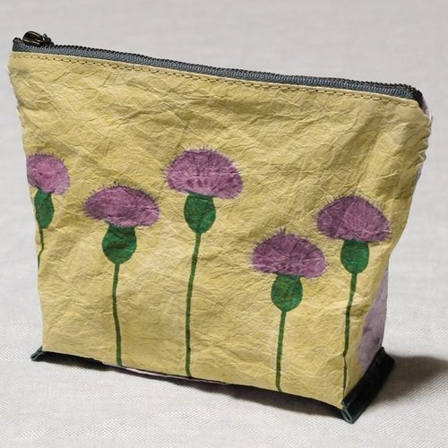 Handmade Japanese paper pouch <thistle>
