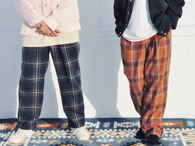 格紋毛料西裝褲-大地 WOOLEN TAILORED TROUSERS IN EARTH CHECK