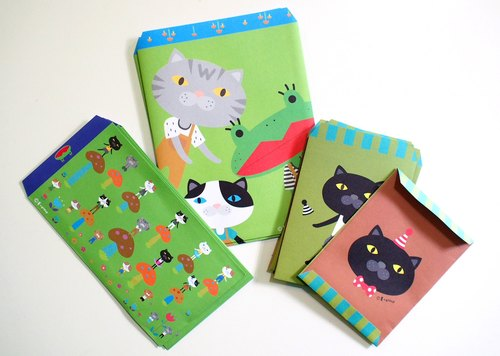 E*group integrated gift bag envelope with 10 frog cats