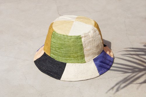 Father's Day gift limited to a land forest wind splicing hand-woven cotton hat / fisherman hat / sun hat / patch cap / hand cap - natural forest and marine stitching hand hat