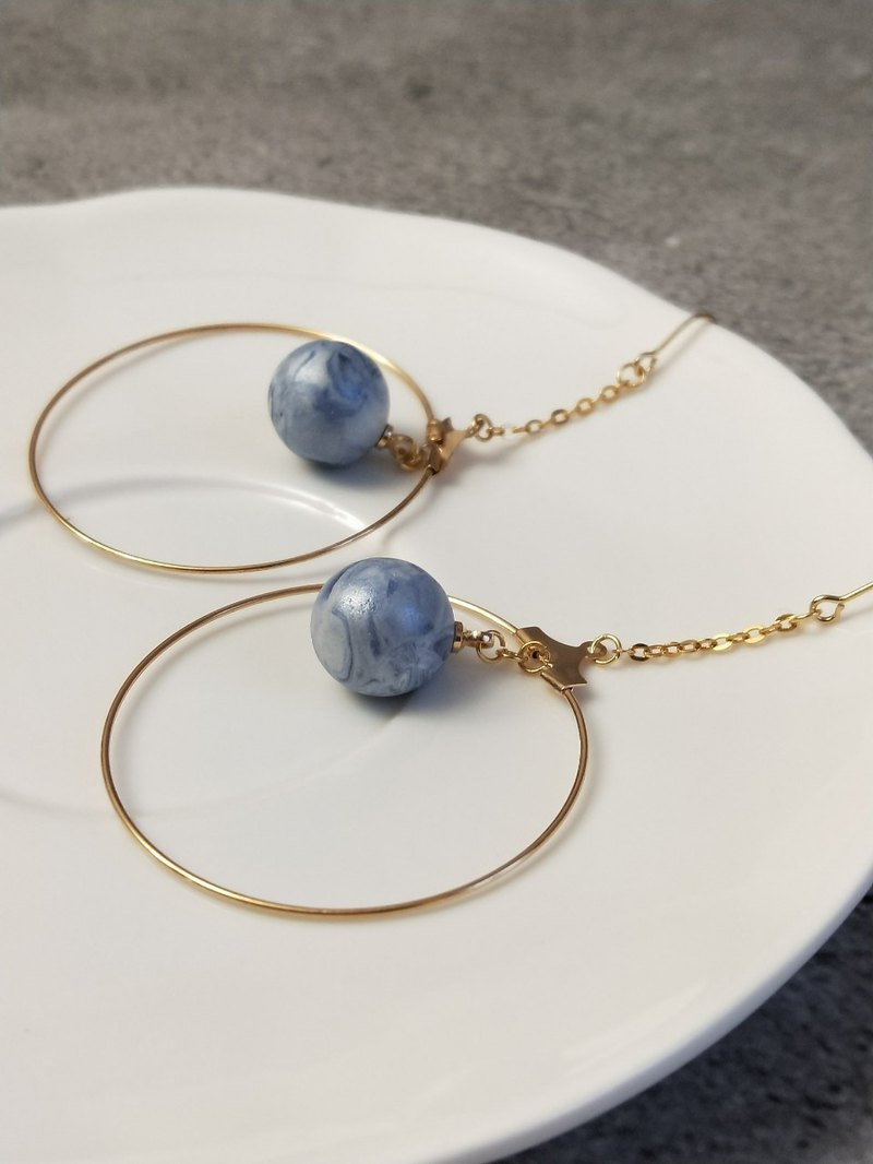 Small ornaments - Dajinhuan blue ceramic beads - earrings earrings soft ceramic ear hooks