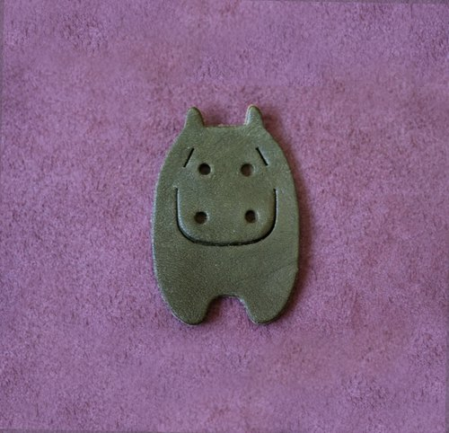 Leather Bookmark / Animal Bookmark / Gift - Hippopotamus Khaki Green