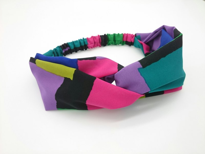 Color block stitching ~ medium wide version cross hair band