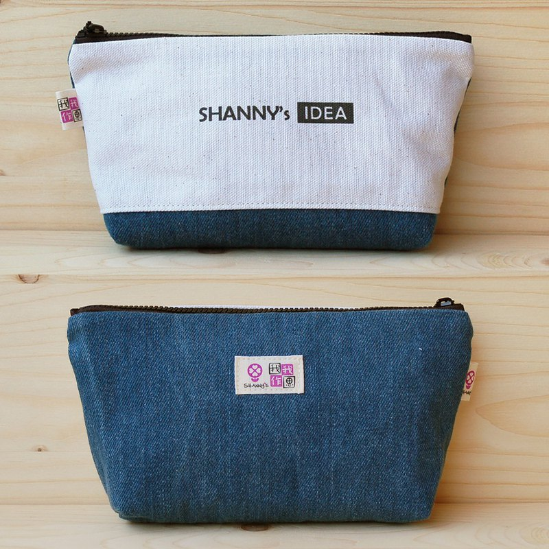 Customized _ plain color denim large pencil case