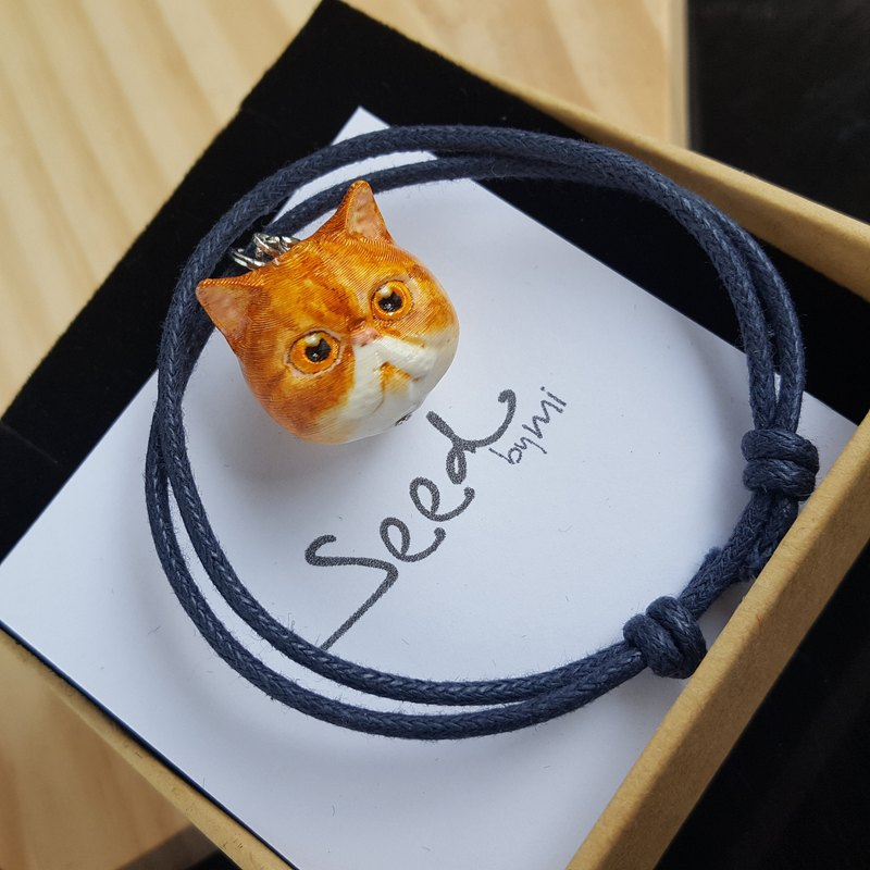 3D Print ~ Hand-painted Exotic short-haired cat with wax coated string