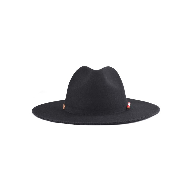 oqLiq - Display in the lost - Shell embroidered line width gentleman's hat (black)