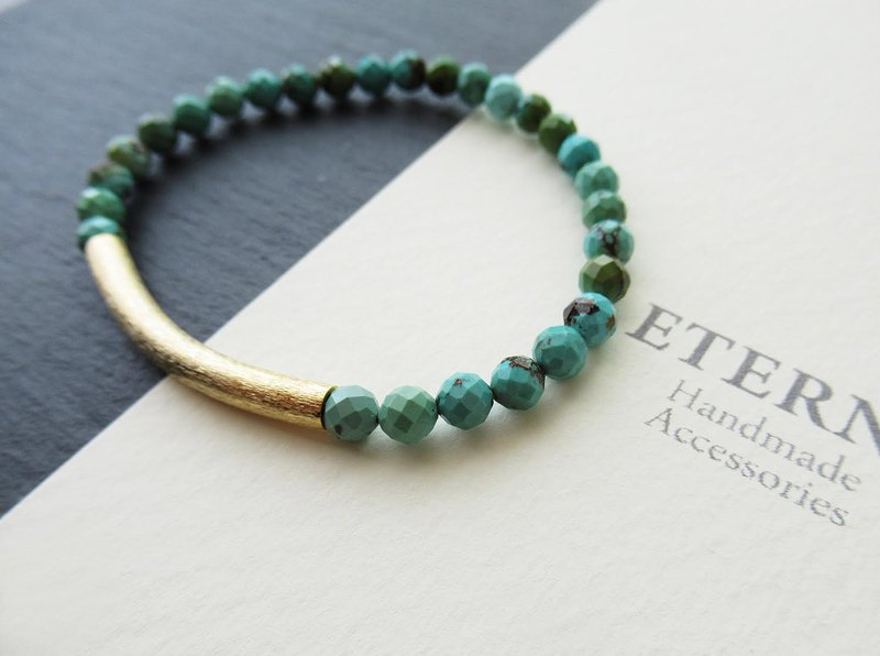 Turquoise with matte gold curved pipe bracelet