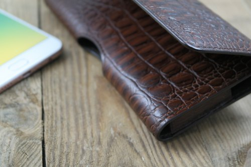 Paper hand phone holster APEE ~ ~ ~ horizontal magnetic debit black brown Croco