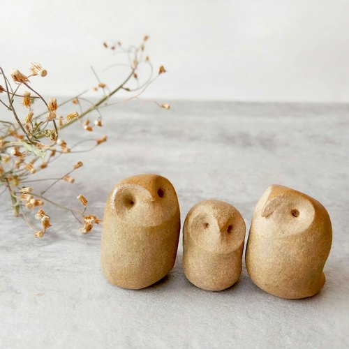 Brown Round Face Handmade Ceramic Owl – size: S