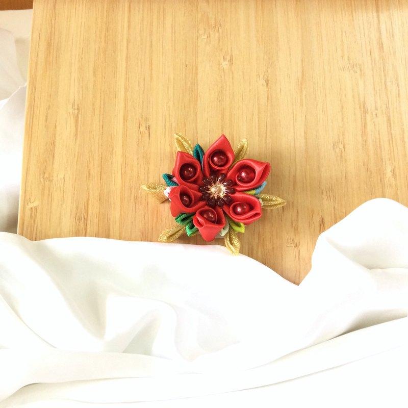 聖誕花色緞帶絲帶細工花胸針髮夾