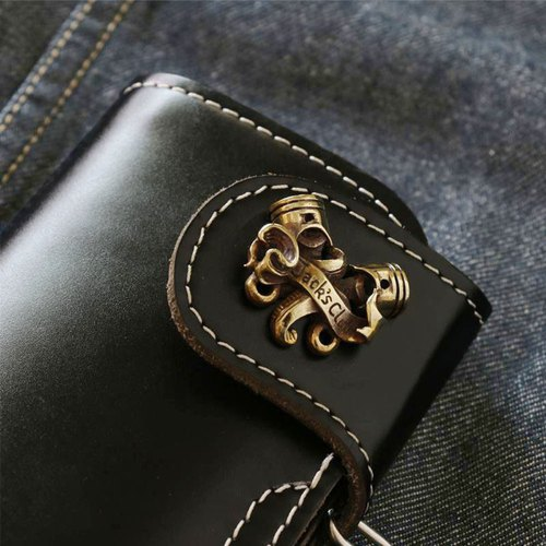 Biker long Wallet chain brass Genuine Leather black Piston cross skull handmade