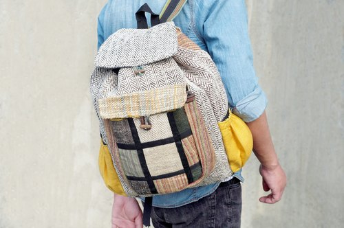 After limited manual ethnic mosaic design backpack / shoulder bag / mountaineering bags - yellow desert safaris Patchwork bag (limit one)