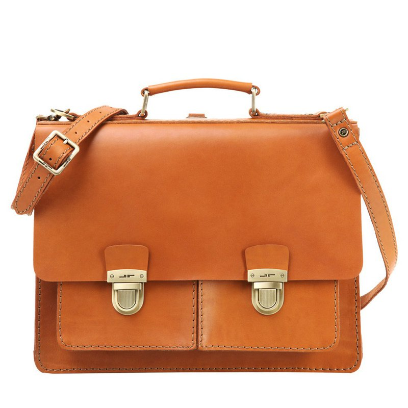 JIMMY RACING with me leather hand strap diagonal back briefcase - camel 0416256