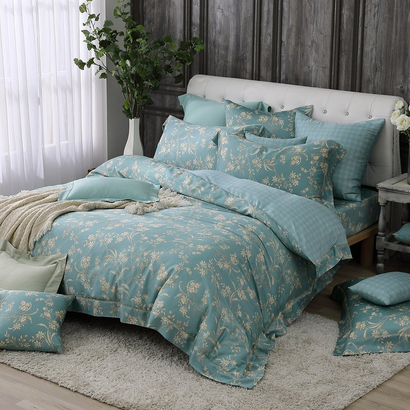 Increase the size - flowers and flowers - Tencel dual-use bedding four-piece group [100% Lysell Tencel]