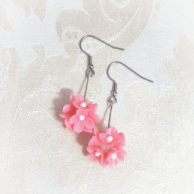 Pink flower ball earrings / ear hook / ear clip