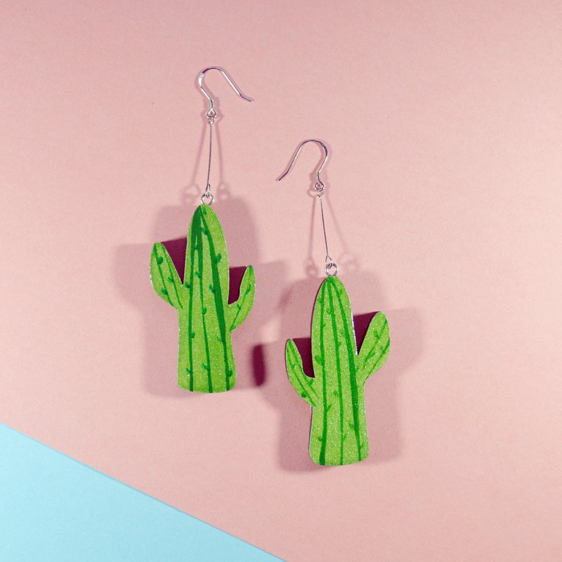 Summer romantic green big cactus long hand-painted earrings ear clip hand-painted wooden resin seal