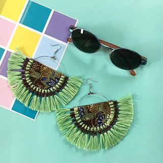 earrings : fan tribal green 02