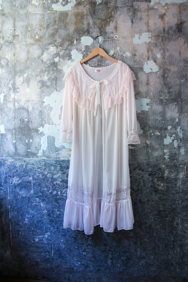 袅袅 department store -Vintage light pink silk pajamas blouse retro