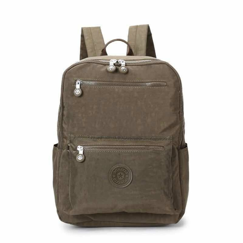 2018 new student bag waterproof nylon backpack simple wild travel bag leisure shoulder bag - brown # 8506