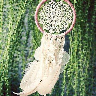 Dream Catcher 14cm - Late Autumn Forest - Fantasy Lace Cloth + Shell Wind Chimes - Wedding Small Things