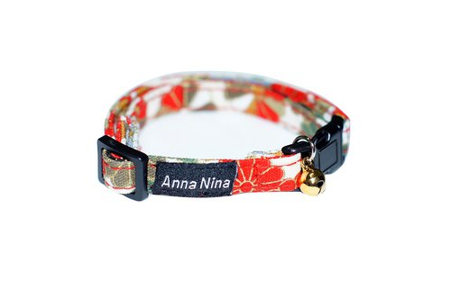 [AnnaNina] pet cat collar lucky white cat prime collar XS ~ M