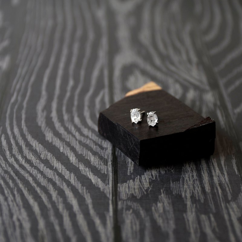 Handmade Herkimer diamond with sterling silver Stud Earring, April Birthstone