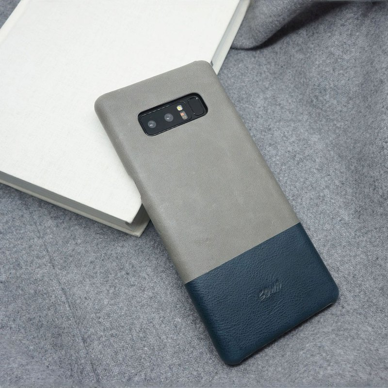 NOTE 8 Two-tone leather case - fog / navy