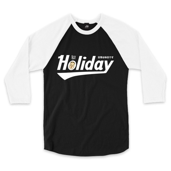 Holiday Mr. Paul Signature-Black / White-3/4 sleeve baseball T-shirt