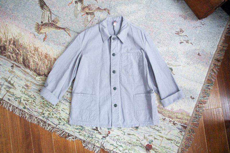 袅袅 Department Store-Vintage Light Blue Pocket Cargo Jacket