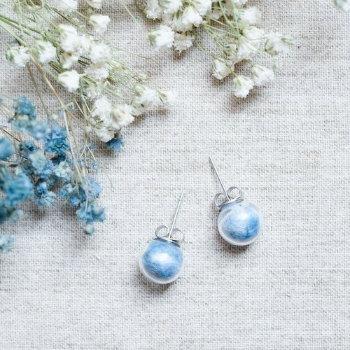 Sapphire Sky / Stainless Steel / Glass Dome Earrings